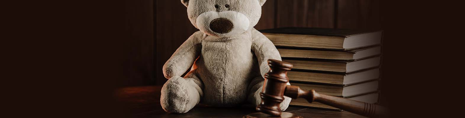 teddy bear next to law books and gravel depicting child custody case