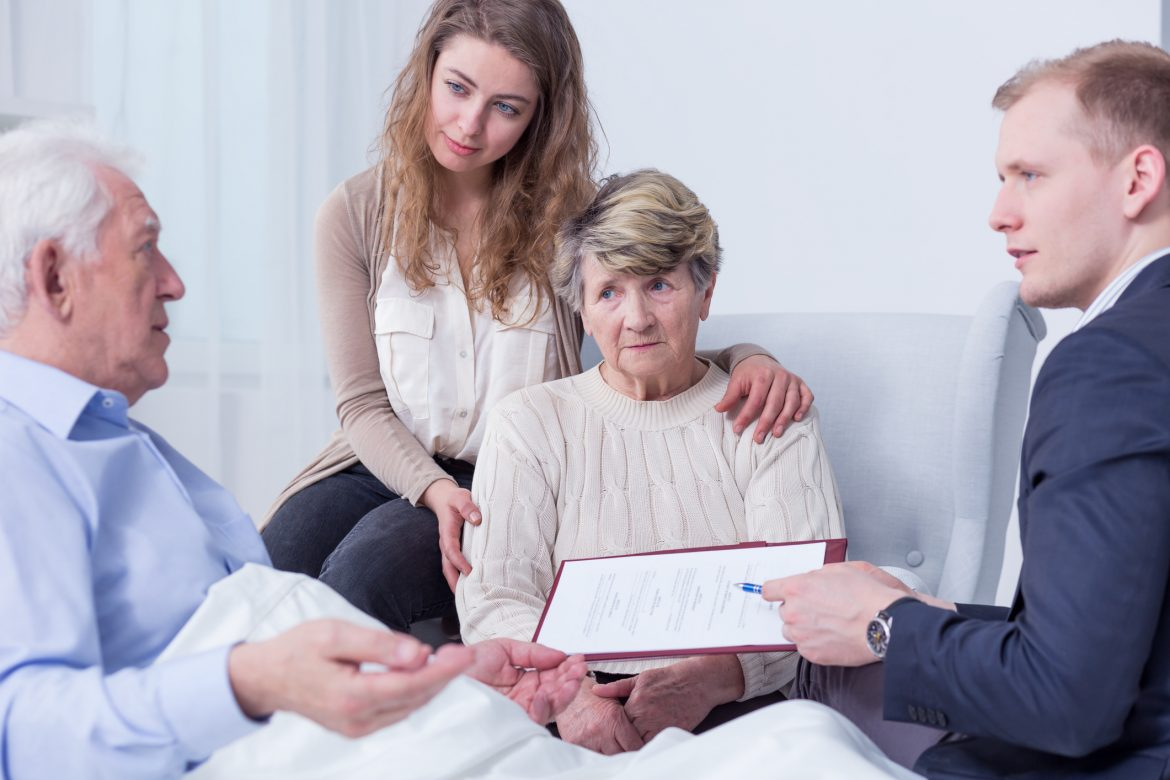 family with lawyer discussing estate planning