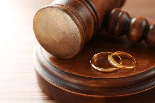 gavel and wedding bands